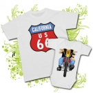 CAMISETA PAPA RUTA 66 + BODY BEBE MOTERO WC