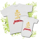 Camiseta PAPA KEEP CALM AND LISTEN METALLICA + Body KEEP CALM AND LISTEN METALLICA WC
