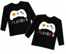 Camisetas gemelos PLAYER 1 + PLAYER 2 BL