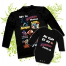 Camiseta SOY TU SUPERHEROE FAVORITO + Body MI PAPI ES MI SUPERHEROE FAVORITO BL