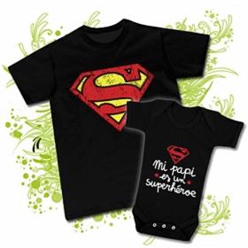abebd2c09 Camiseta PAPA SUPERHÉROE ( Superman) + Body MI PAPI ES UN SUPERHÉROE ...