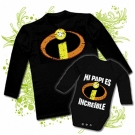 Camiseta PAPA INCREIBLE + Body bebé INCREIBLE BL