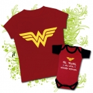 Camiseta MAMI WONDER WOMAN + Body MI MAMI ES UNA WONDER WOMAN RC