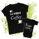 Camiseta MAMA OK BUT FIRST COFFEE + Body OK BUT FIRST MILK BC