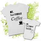 Camiseta MAMA OK BUT FIRST COFFEE + Body OK BUT FIRST MILK WC