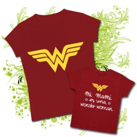 Camiseta MAMI WONDER WOMAN + Camiseta MI MAMI ES UNA WONDER WOMAN RC