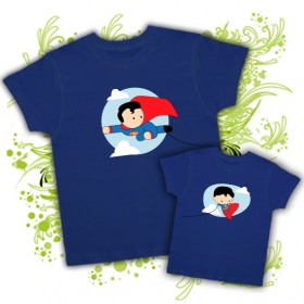 Camiseta PAPA SUPERMAN VOLANDO  + Camiseta MINI SUPERMAN VOLANDO (niño)