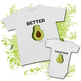 Camiseta PAPA AGUACATE (Better) + Body AGUACATE (Together)