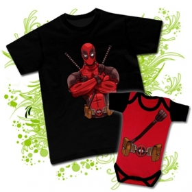 Camiseta PAPA Deadpool + Body bebé Deadpool uniform (negro)