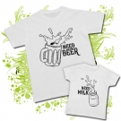 Camiseta PAPA NEED BEER + Camiseta NEED MILK