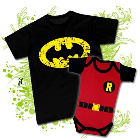 bfbcf37c3 Camiseta PAPA BATMAN + Body BEBE ROBIN RC. Descripción